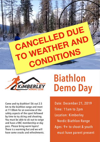 Biathlon Demo Day Cancelled