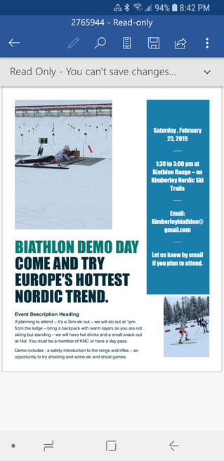 Biathlon...Shooting and Skiing...Demo Day...Today, Saturday, Feb, 23rd...1:30-3:00pm...Come on Out a