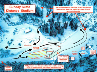 Kootenay Cup Stadium Map for Sunday Distance Races.