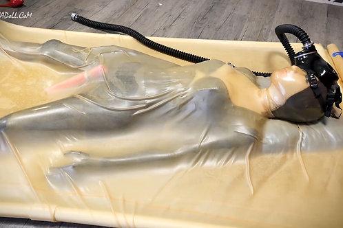 NA049-真空床娃娃昏迷女性面具防毒面具乳胶窒息罩
