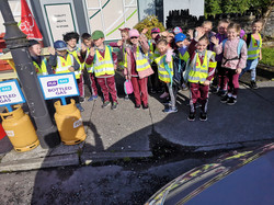 Senior Infants ready for the walk to school!