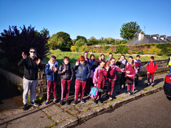Mr.Cloherty and his class on the walk to school day!
