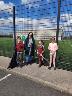Our Green Schools Committee carrying out a clean up of the schools grounds. Well done and thank you!