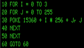 BASIC code for TRS-80 Model 1 to show Character Set