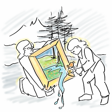 Drawing of two women buiding a frame that vivifies a part of the surroundings