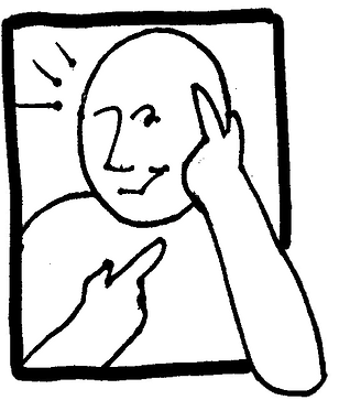 line drawing of a person pointing to his head and throat, symbolizing thinking with his heart