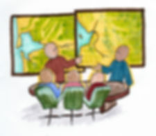 Colorful drawing of people in a meeting looking at maps