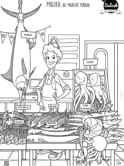 Poster géant à colorier : Chez le poissonnier