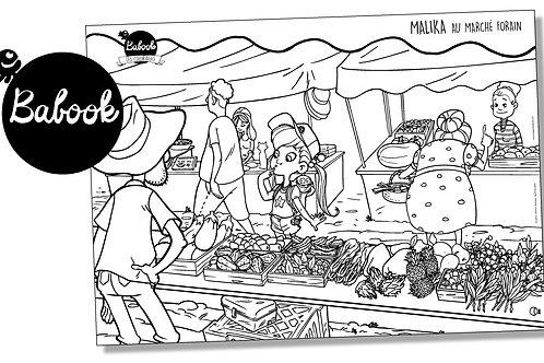 Poster à colorier : Malika au marché forain
