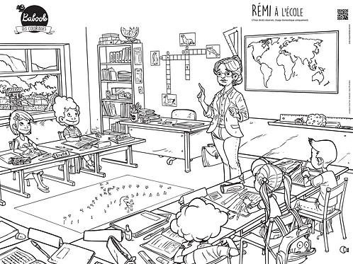 Poster à colorier : Rémi à l'école