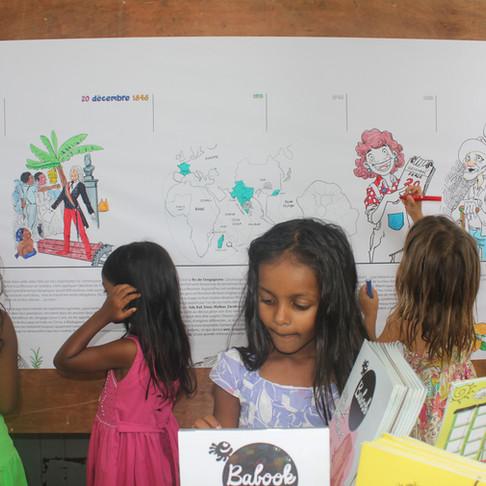 Fresque historique à colorier - festival Liberté Métisse - Etang-Salé