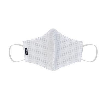 Máscara de Tecido - Tricoline Xadrez 100% Algodão Cor Branco/Azul