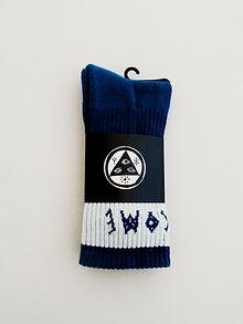 Welcome: Summon Jacquarded Crew Socks (Harbor, White)