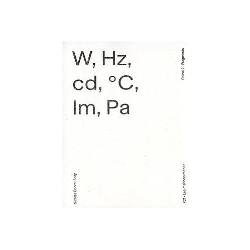 W, Hz, cd, °C, lm, Pa School / ENSA de Versailles