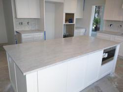Honed Marble - White Shaker Cabinets
