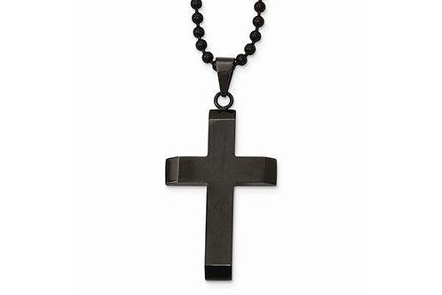 Stainless Steel Brushed And Polished Black IP-Plated Cross Necklace