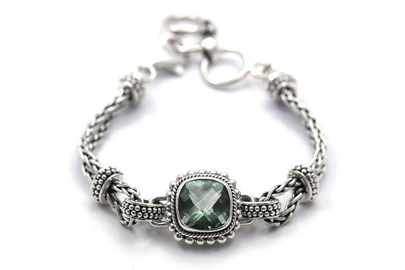 P A D M A 925 S. Silver Bali Green Amethyst Bracelet