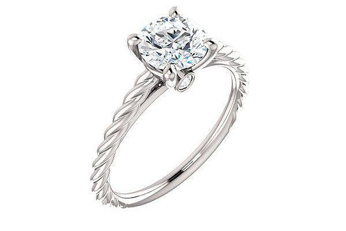 14K Gold Diamond Engagement Ring Setting with cable (Rope) design