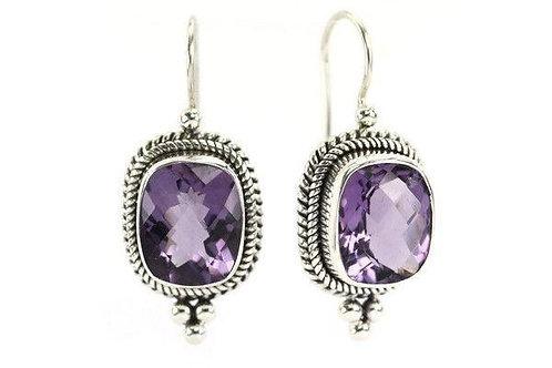 Cushion Cut Amethyst earrings handmade in Sterling Silver
