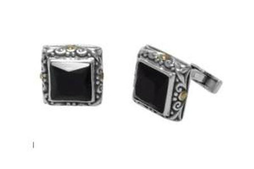 SS/18K BLACK ONYX SQUARE SHAPE CUFF LINKS
