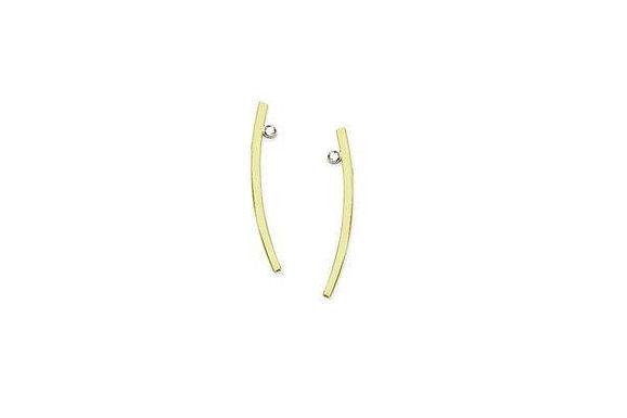 14KY Curved Bar Earring W/Diamond