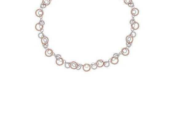 STERLING SILVER ROSE FINISH CIRCULATION NECKLACE
