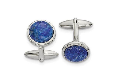 Stainless Steel Polished Lapis Cuff Links