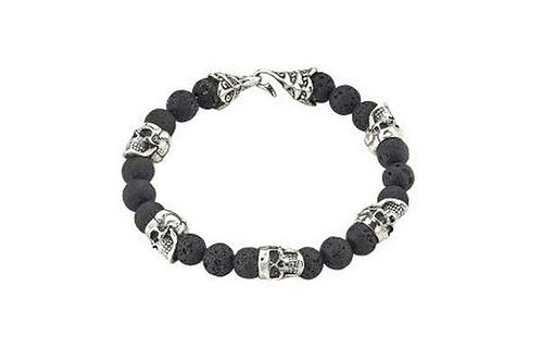 SS SKULL HEAD AND LAVA BEADED BRACELET