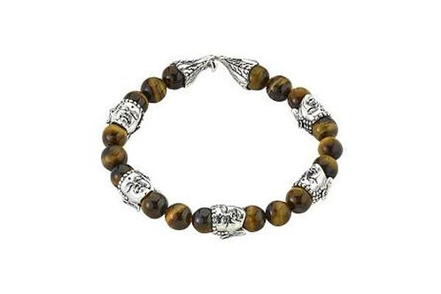 SS TIGER EYE BEADED BUDDAH BRACELET