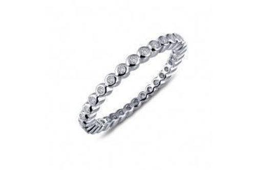 Silver Bezel set Stackable Ring R0212CLP