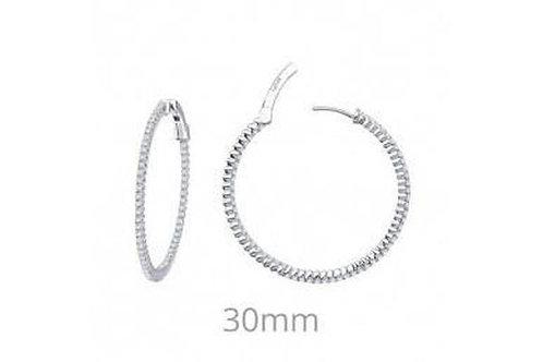 Silver Inside Out Hoop Earrings 30mm E3009CLP00