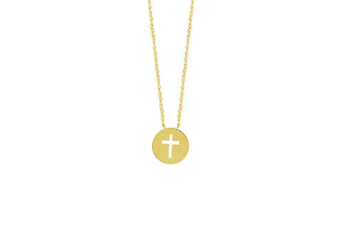 Mini Disk Cut Out Cross Necklace