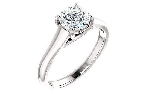 14K Gold Four-Prong Solitaire Trellis Style Engagement Ring
