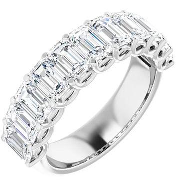 14K Moissanite Wedding-Anniversary Emerald Ring