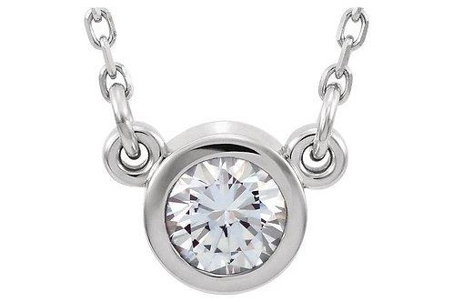 14KW Bezel Set Diamond Pendant CN= 0.35ct