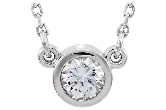 14KW Bezel Set Diamond Pendant CN= 0.35ct