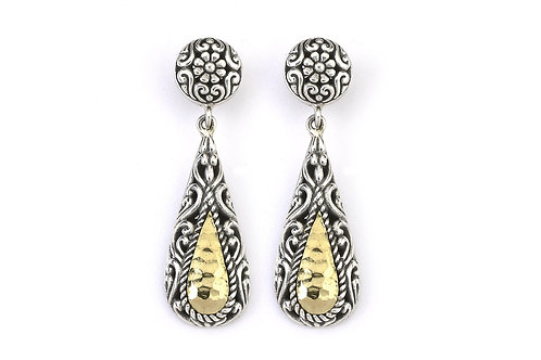 SS/18K HAMMER DESIGN TEAR DROP EARRINGS WITH STUD