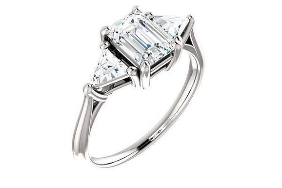 14KW Semi-set Engagement Ring 0.48ctw-Trillion