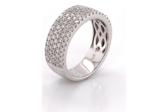 14KW 5-Row Pave Diamond Wedding Band 1.05ctw