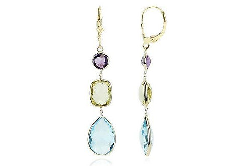 14K Gold Gemstone Earrings Amethyst, Lemon & Blue Topaz
