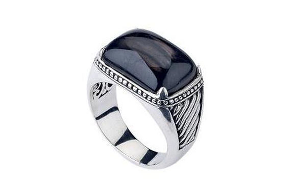 SS HYPERSTHENE CUSHION CABACHON RING