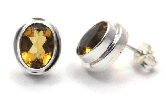 P A D M A 925 S. Silver Bali Citrine Stud Earrings