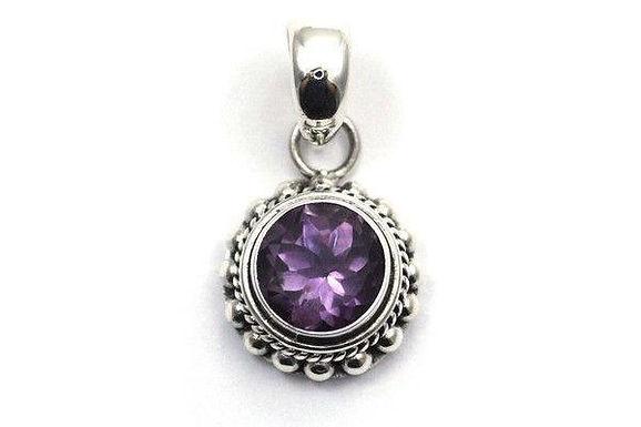 Silver Bali Amethyst Pendant