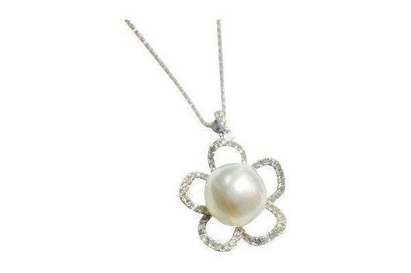 14kw 67rb, 0.50ct pearl neck w/chain