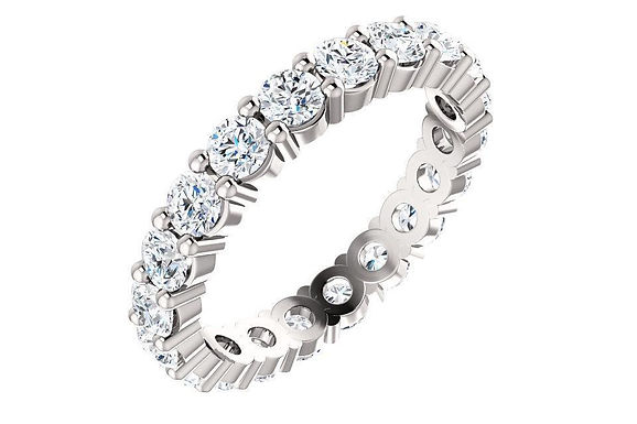 14K Gold 2.00 ctw Round Shared Prong Moissanite Eternity Band
