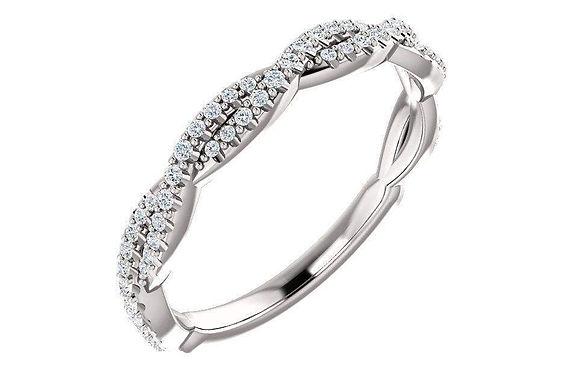14K White 1/5 CTW Infinity Diamond Band