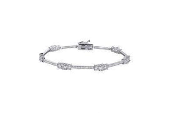 S. Silver Bracelet with simulated diamonds B0008CLP72