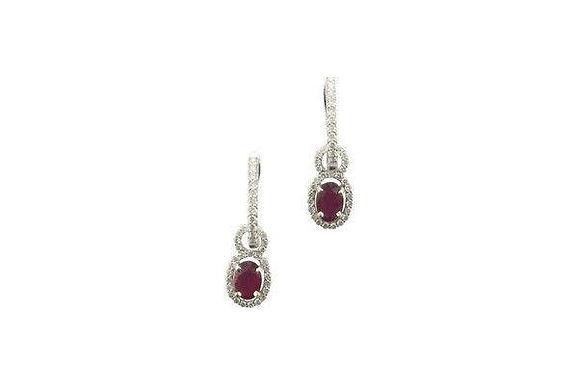 Oval Ruby Drop Earrings with Diamond Halo