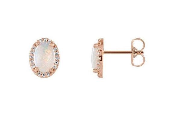 14K Rose Gold 7x5mm Opal & Diamond Earrings