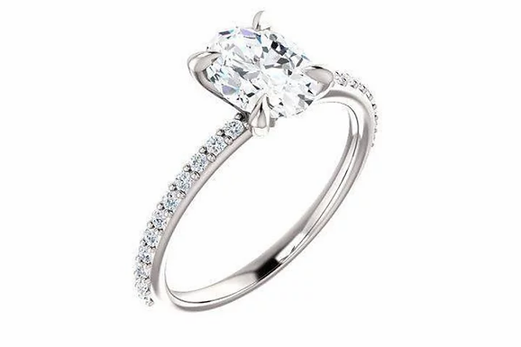 Oval Moissanite and 1/5 cttw Diamond Pave Engagement Ring